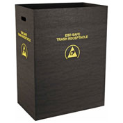 Protektive Pak 36 Gallon Static Dissipative Trash Receptacle, Large Economy, Black - 37815