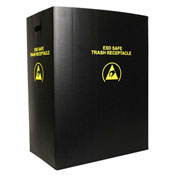 Protektive Pak 36 Gallon Conductive Material Trash Receptacle, Large, Black - 37817