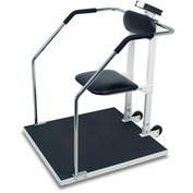 Detecto 6868 Digital Bariatric Scale 800lb x 0.2lb/ 360kg x 0.1kg W/ Flip-Up Seat, Rails, Wheels