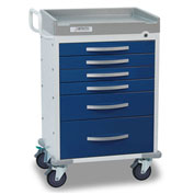 Detecto® Rescue Series Anesthesiology Medical Cart, White Frame with 6 Blue Drawers