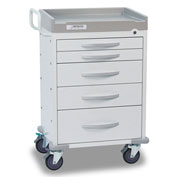 Detecto® Rescue Series General Purpose Medical Cart, White Frame with 5 White Drawers