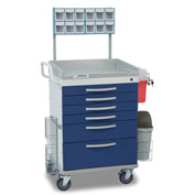 Detecto® Loaded Whisper Series Anesthesiology Medical Cart, White Frame with 6 Blue Drawers