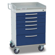Detecto® Whisper Series Anesthesiology Medical Cart, White Frame with 6 Blue Drawers