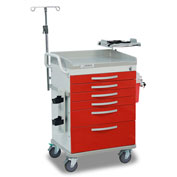 Detecto® Loaded Whisper Series Emergency Crash Cart, White Frame with 6 Red Drawers