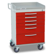 Detecto® Whisper Series Emergency Crash Cart, White Frame with 6 Red Drawers