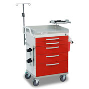 Detecto® Loaded Whisper Series Emergency Crash Cart, White Frame with 5 Red Drawers