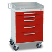 Detecto® Whisper Series Emergency Crash Cart, White Frame with 5 Red Drawers