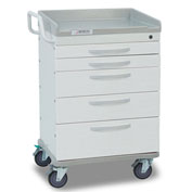 Detecto® Whisper Series General Purpose Medical Cart, White Frame with 5 White Drawers