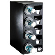 Dispense-Rite® Countertop 4 Cup Dispensing Cabinet w/Organizers - Black