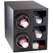 Dispense-Rite Countertop 2 Cup Black Dispense Cabinet w/Organizers