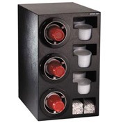Dispense-Rite® Countertop 3 Cup Black Dispense Cabinet w/Organizers
