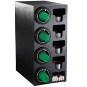 Dispense-Rite® Countertop 4 Cup Black Dispense Cabinet w/Organizers