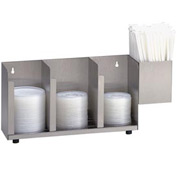Dispense-Rite 3 Section Stainless Steel Cup, Lid & Straw Organizer