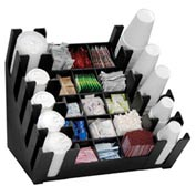 Cup, Lid, Straw & Condiment Organizer, 25 sections, black