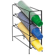 Dispense-Rite 3 Section Vertical Wire Rack Cup Dispenser
