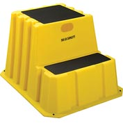 "2 Step Nestable Plastic Step Stand - Yellow 25-3/4""W x 32-3/4""D x 20-1/2""H - NST-2-14"
