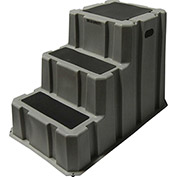 """3 Step Nestable Plastic Step Stand - Gray 25-3/4""""W x 42""""D x 29""""H - NST-3-07"""