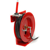 "Duro 1221 Oil Heavy Duty Retractable Spring Hose Reel, 23"" x 8"" x 22"", 50' Hose, 1000PSI"