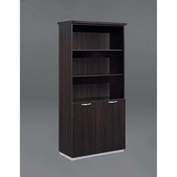 "DMi Bookcase with Doors - 36""W x 16""D x 72""H - Mocha - Pimlico Series"