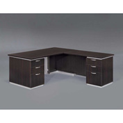 "DMi Right Executive L Desk 66""W x 78""D x 30""H, Mocha, Unassembled - Pimlico Series"