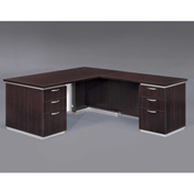 DMi Right Executive L Desk with White Modesty Panel, Mocha, Unassembled - Pimlico Series