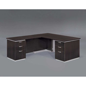 "DMi Left Executive L Desk 66""W x 78""D x 30""H, Mocha, Unassembled - Pimlico Series"
