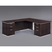 DMi Left Executive L Desk with White Modesty Panel, Mocha, Unassembled - Pimlico Series