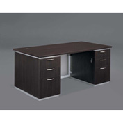 "DMi Pimlico Executive Desk with White Modesty Panel 66""W x 30""D x 30""H, Mocha, Assembled"
