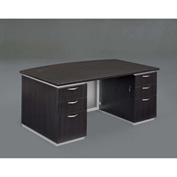 "DMi Executive Desk w/ Laminate Modesty Panel 72""W x 42""D x 30""H Mocha, Unassembled - Pimlico Series"