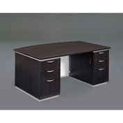 "DMi Executive Desk with White Modesty Panel 72""W x 42""D x 30""H Mocha, Unassembled - Pimlico Series"