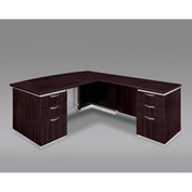 DMi Pimlico Right Executive Bow Front L Desk with Laminate Modesty Panel, Mocha, Assembled