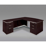 DMi Pimlico Left Executive Bow Front L Desk with Laminate Modesty Panel, Mocha, Assembled