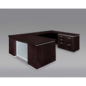 DMi Pimlico Right Personal File Bow Front U Desk with Laminate Modesty Panel, Mocha, Assembled