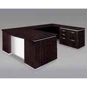 DMi Pimlico Right Personal File Bow Front U Desk with White Modesty Panel, Mocha, Assembled