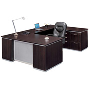 DMi Pimlico Right Personal File U Desk with Laminate Modesty Panel, Mocha, Unassembled