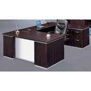 DMi Pimlico Right Personal File U Desk with White Modesty Panel, Mocha, Assembled