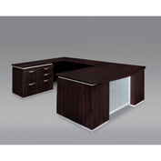 DMi Pimlico Left Personal File Bow Front U Desk with Laminate Modesty Panel, Mocha, Assembled
