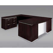 DMi Pimlico Left Personal File Bow Front U Desk with White Modesty Panel, Mocha, Unassembled