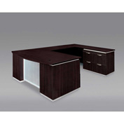 DMi Pimlico Right Lateral File Bow Front U Desk with Laminate Modesty Panel, Mocha, Unassembled