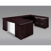 DMi Pimlico Right Lateral File Bow Front U Desk with White Glass Modesty Panel, Mocha, Assembled