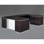 DMi Pimlico Right Lateral File U Desk with White Glass Modesty Panel, Mocha, Assembled