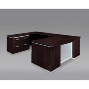 DMi Pimlico Left Lateral File Bow Front U Desk with Laminate Modesty Panel, Mocha, Assembled