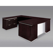 DMi Pimlico Left Lateral File Bow Front U Desk with White Glass Modesty Panel, Mocha, Unassembled