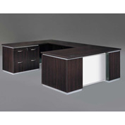 DMi Pimlico Left Lateral File U Desk with White Glass Modesty Panel, Mocha, Assembled