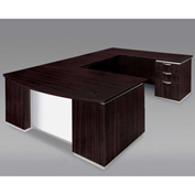 DMi Right Executive Bow Front U Desk with White Modesty Panel, Mocha, Unassembled - Pimlico Series