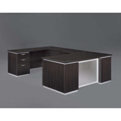 DMi Pimlico Left Executive U Desk with Laminate Modesty Panel, Mocha, Assembled