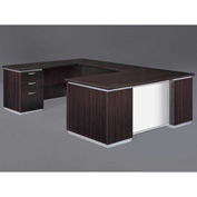 DMi Pimlico Left Executive U Desk with White Glass Modesty Panel, Mocha, Assembled