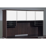 "DMi Pimlico Overhead Storage with White Glass Doors 66""W x 16""D x 42""H, Mocha, Assembled"