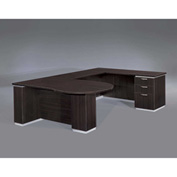 "DMi Pimlico Right Peninsula U Desk 72""W x 114""D x 30""H, Mocha, Assembled"