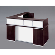 "DMi Pimlico Right Reception Desk w/White Glass Modesty Panel 72""W x 84""D x 42""H, Mocha, Unassembled"